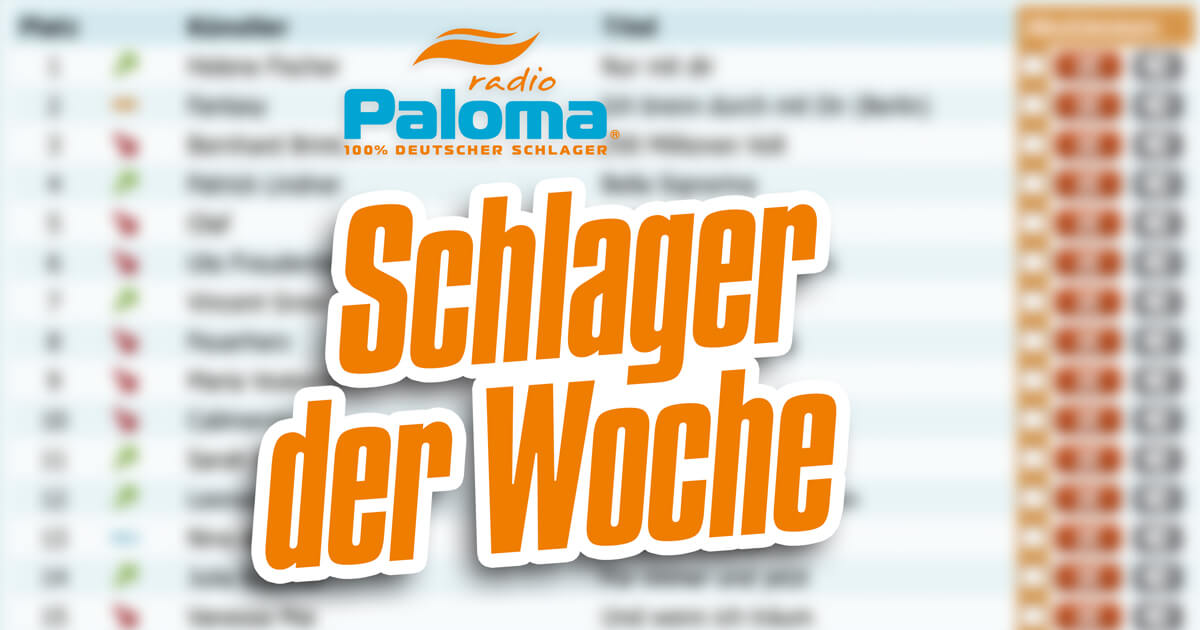 Weihnachtslieder Charts 2019.Radio Paloma 100 Deutscher Schlager Schlager Der Woche