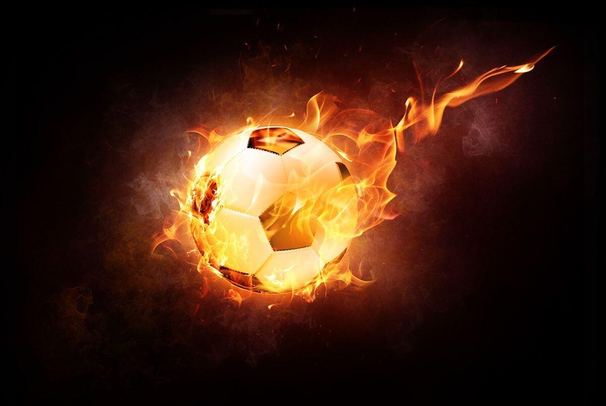 Brennender Fußball